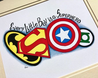 READY TO SHIP. Superhero watercolor print. Superhero nursery decor.