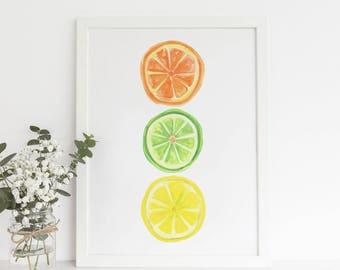 Kitchen Decor, Citrus Fruit Print, Lemon Artwork, Digital Download Art Printable Fruit Art, Fruit Wall Art, Kitchen Art print Food Painting