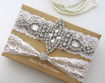 Wedding Garter, Bridal Garter, Garters, White Garter Set, Lace Garter Set, Vintage Garter Set, Rhinestone Garter Set, White Lace Garter Set