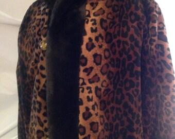 Vintage 1990/winter women/Faux Fur/Leopard/hood/Reversible/Women Hooded Faux Fur Winter Coat/Reversible