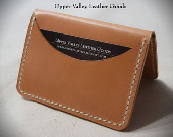 Thin Leather Wallet Three pocket wallet Minimalist leather wallet Natural Russet leather Made in USA