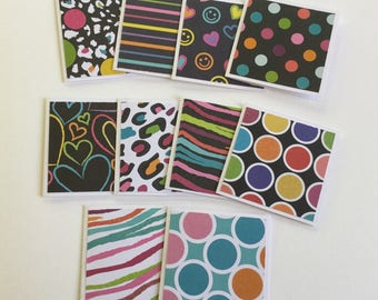 Mini cards, rainbow gift cards, funky greeting cards, thank you cards, note cards, any occasion, set of 10