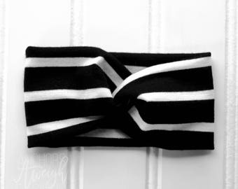 Black & White Stripe Faux Turban Headband