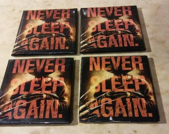 "4 ""Never Sleep Again"" Freddy Handmade Ceramic Drink Coasters Halloween Nightmare"