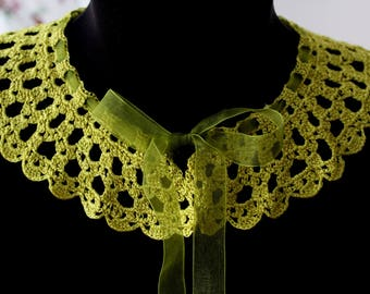 Green crochet collar, Lace collar, Apple Green Collar, Lace choker, Vintage style collar, gift for her