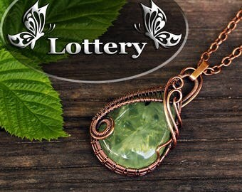 Lottery - Wire wrap prehnite - Wire wrapped pendant - Wire jewelry labradorite - Wire wrapped jewelry - Copper pendant - Gift for her