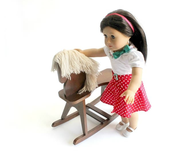 Featured listing image: Toy Wood Rocking Horse, Rocking Horse For 18 Inch Doll