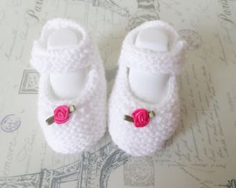 Hand knitted white baby booties Mary Jane shoes