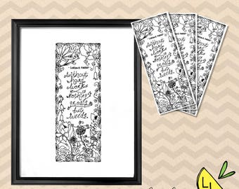 LDS Art, Hard Work Quote, Poster Bundle, Black and White, Printable Art, Hand drawn, Coloring Page, Cute Bookmarks, Gordon B. Hinckley,