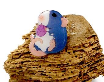 Rat brooch funny little rat, pin animal, brooch animal, jewelry animal, rat, rat jewelry, little rat brooch