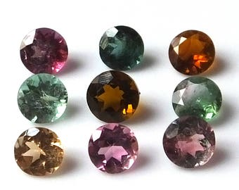 9 Pieces Lot 5X5 MM Round Shape Natural Multi-Color Tourmaline Faceted Untreated Calibrated Gemstone Wholesale Lot Tourmaline Round