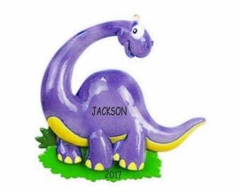 Personalized Dinosaur Kids Christmas Ornament - Brontosauros