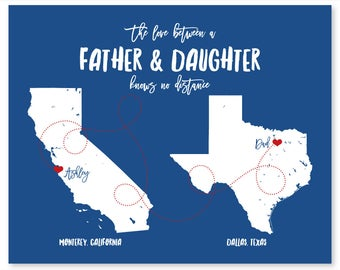 Gifts for Dad Gifts Ideas Christmas Gifts for Dad Daughter Map Dad Son Map Dad and Son Dad Pregnancy Announcement Personalized Fathers Day