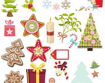 Christmas Clip Art Gifts Tree Clipart Reindeer Bunting Snowflake