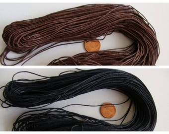 FIL Coton Ciré 0,7mm par 75m en Echeveau Noir ou Marron Foncé DIY création bijoux collier loisirs créatifs