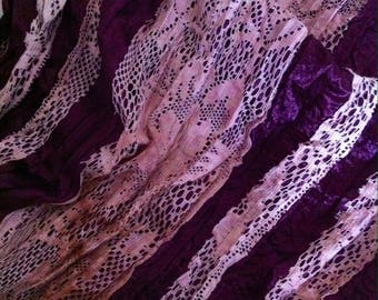 Burgundy lace and silk fabric coupon