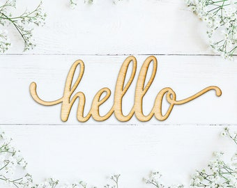 Hello Script Wood Sign -Wood Sign Art, Wooden Hello, Hello Sign, Laser Cut Wood Sign, Wood Wedding Decor, Cursive Hello, Greeting Sign