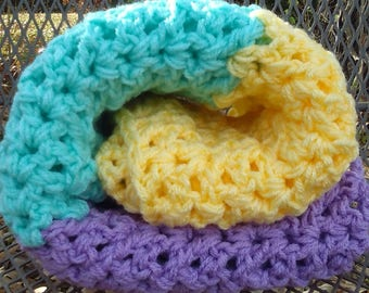 Handmade Lemon, Mint and Lavender Soft Crochet Knit Blanket Throw Blanket Chunky Baby Nursery Baby Shower Gift Handmade Ready to Ship