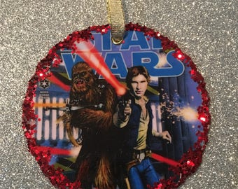 Upcycled Star Wars Christmas Ornament, decoupage comics, Chewbacca. Han Solo