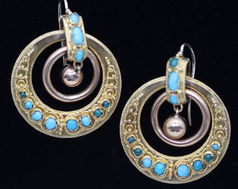 Antique Earrings Gold Turquoise Hoops Victorian Italian Classic Revival (#6240)