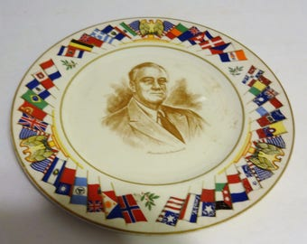 The Salem China Co. Allied Nation's Commerative Series plates Franklin Roosevelt 10 5/8 Inches. See Photos