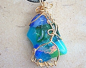 Ocean Lover Dichroic Fused Glass Necklace Handmade Mermaid Pendant Wearable Art Wire Wrapped Colors Artisan Jewelry Fantasy Jewelry