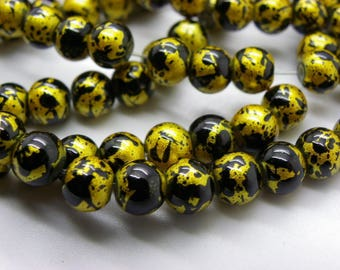 139 glass beads 6 mm painted bomb black with gold