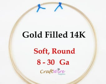 5% OFF 14/20 Gold Filled Wire, Round, Dead Soft, 8 10 12 14 16 18 20 21 22 24 26 28 30 Gauge, 14K, 6 in, 1 5 15 25 Feet, Wrapping Craft Jewe