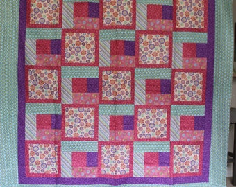 Adorable Pastel and Floral Throw Size Quilt Top
