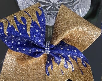 Flames Glitter Cheer Bow