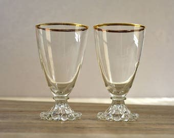 Vintage,Fire King,Boopie ,Berwick, Wine Glasses,Clear Glass,Golden Edging,Anchor Hocking,Glass 1950,Set of 2