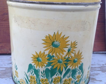 Vintage tin canister, decoware, Mid-century kitchen