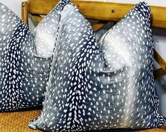 Vern Yip // Piping antelope pillow cover // fawn pillow cover // blue decor // animal print decor // deer pillow // linen pillow