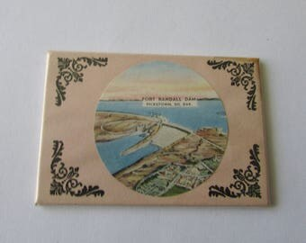 Vintage Fort Randall Dam Pickstown SD Souvenir Mirror for Pocket or Purse