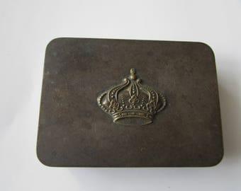 Vintage Silver Box Crown Marked Victoria with Crown Hallmark Dresser Trinket