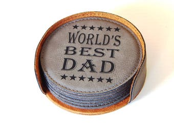 Daddy Coasters, Dad Gift, Gift to Father, Father's Day Gift, Dad Christmas Gift, Dad Birthday Gift, World's Best Dad Gift, Coasters CAS023