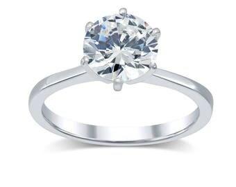 Diamond Engagement Ring 1.54 Ct- Minimalist Solitaire Diamond Ring 14K Gold; Tapered Band Solitaire Engagement Ring; Round Real Diamond G/