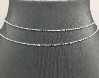 14K Solid White Gold Beads Chain