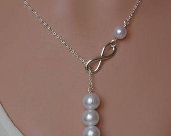 Sale Silver lariat Infinity Pearl necklace Infinity pearl lariat  Bridesmaid Necklace Drop pearl necklace Infinity Pearl necklace Bridesmaid