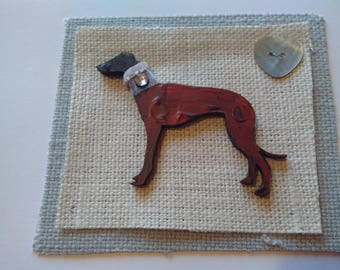 Greyhound/Lurcher with Bling collar greetings card