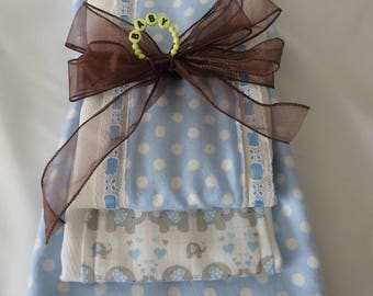 Baby burp clothes, baby shower gift, baby boy blue