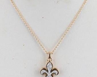 Druzy Fleur De Lis Necklace Gold/Silver