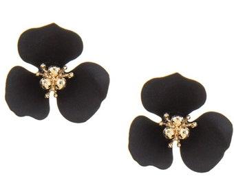 Flower Stud Earrings Gold/Black