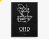 ORD Airport, O'Hare International Airport, Chicago Illinois, ORD Airport Poster, O'Hare Airport, Chicago IL, O'Hare Airport Poster