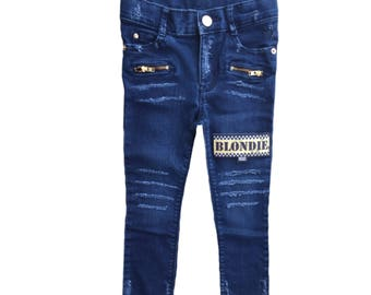 Toddler girl skinny jeans Blondie skinny jeans Zipper distressed jeans Toddler girl clothes Cool girl clothes Cool kid clothes Toddler girl