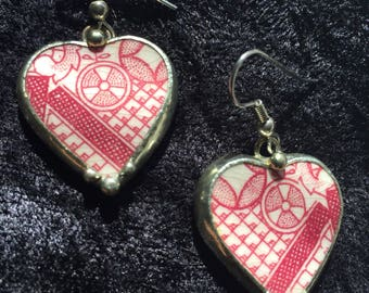 ART DECO HEARTS - Pique-Assiette English Porcelain and Sterling Silver Earrings