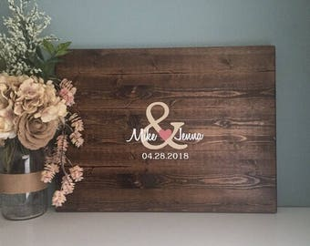 Rustic Wedding Guest Book Alternative /Original Ampersand & Name Design / Painted Rustic Wedding Decor Wood Guest Book Country Wedding Gift