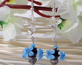 on 4 spiral lampwork earrings