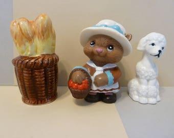 Shaker Trio, Bread Basket, Squirrel, & Poodle