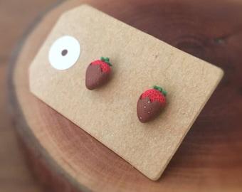 Handmade Little Bits Earrings Coated Dipped Strawberries Stud Earrings Polymer Clay Surgical Steel